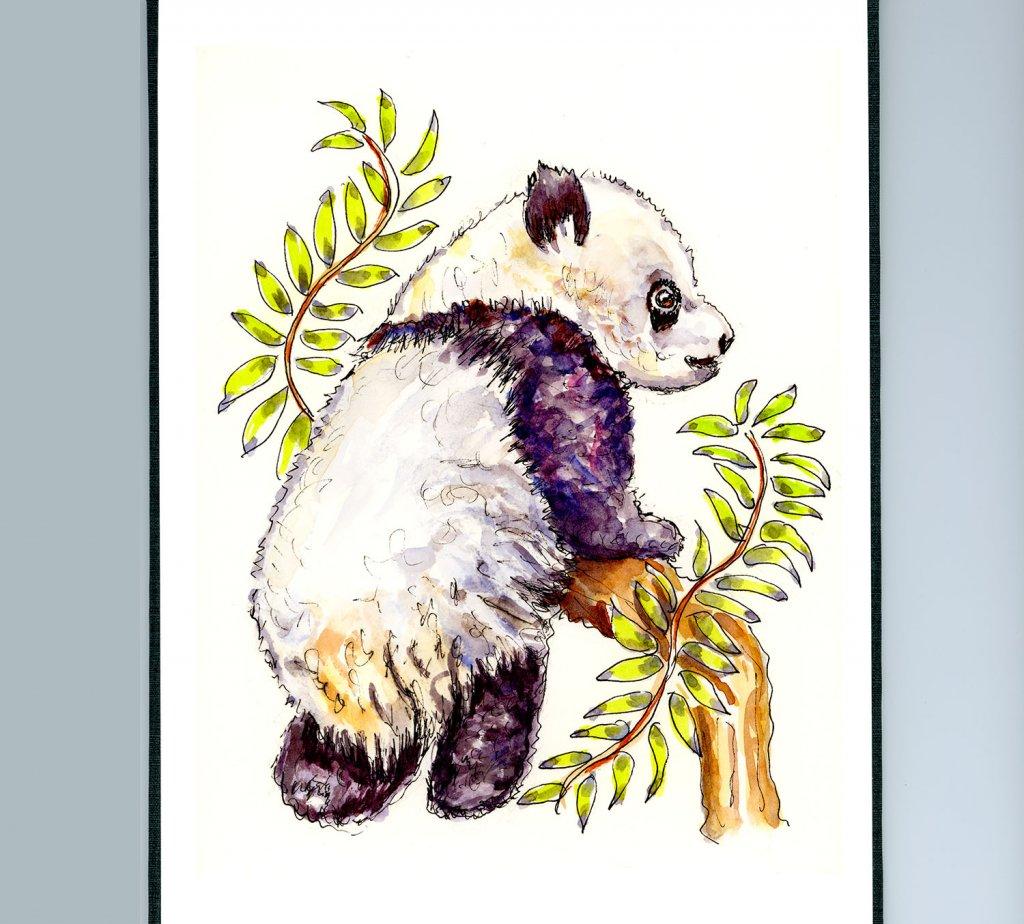 Day 21 - Panda Baby Watercolor Illustration_IG