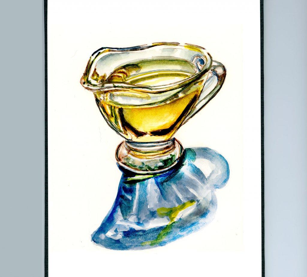 Day 22 - Olive Oil Watercolor Illustration_IG