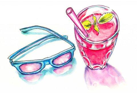 Rose Colored Glasses Watercolor Illustration - Doodlewash