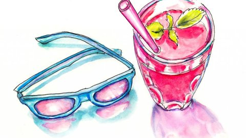 Rose Colored Glasses Watercolor Illustration - Doodlewash