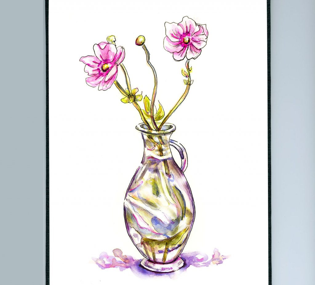 Day 26 - Flowers Vase Glass Watercolor Illustration_IG