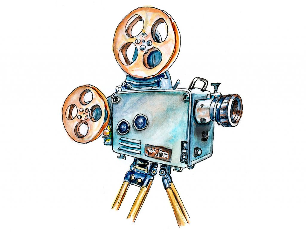 Vintage Cinema Camera Illustration - Doodlewash
