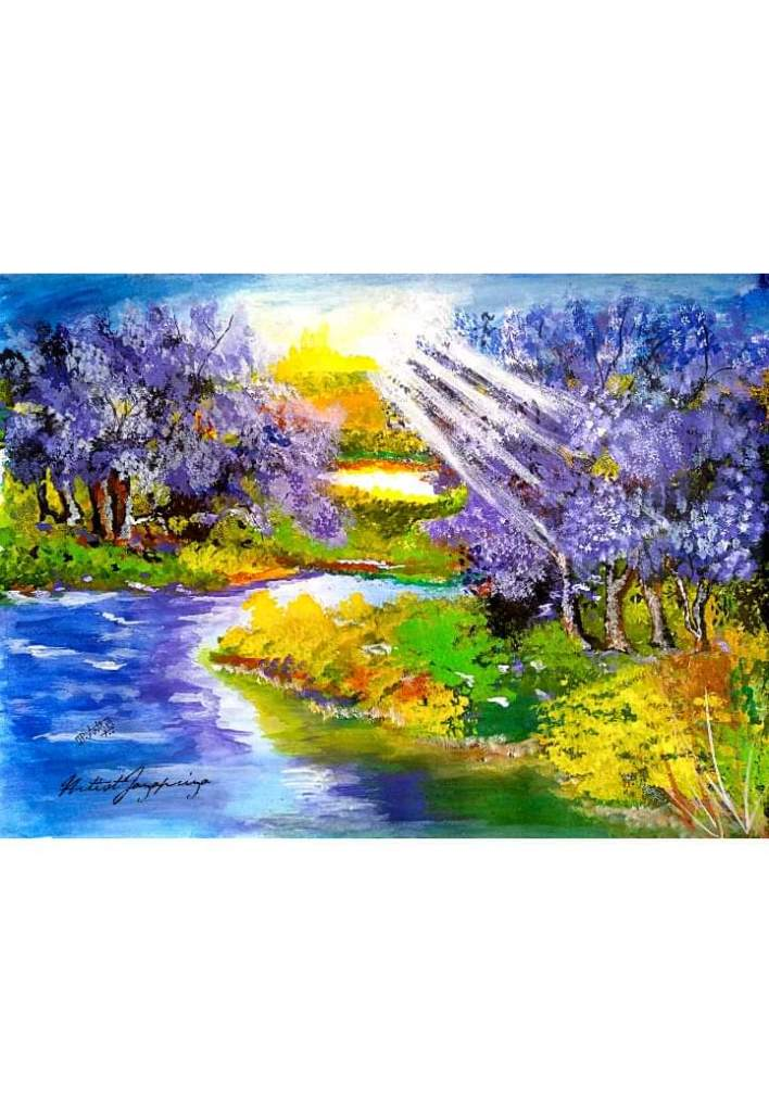 My painting Jacaranda tree A3 Water color India Jayapriya siddharthan FB_IMG_1555658816687