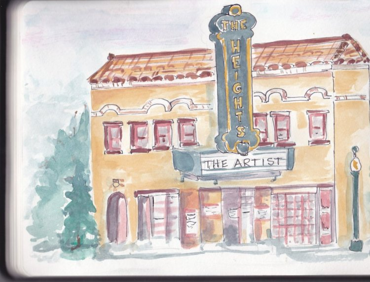 Day 7 Prompt-Silver Screen. This is a quick sketch of an old movie theatre in Columbia Heights, MN.