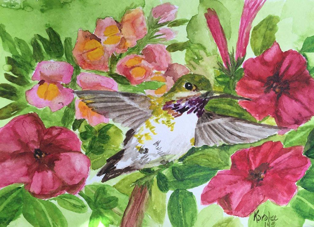 Hummingbird Watercolor Painting by Karalee Hammes - Doodlewash