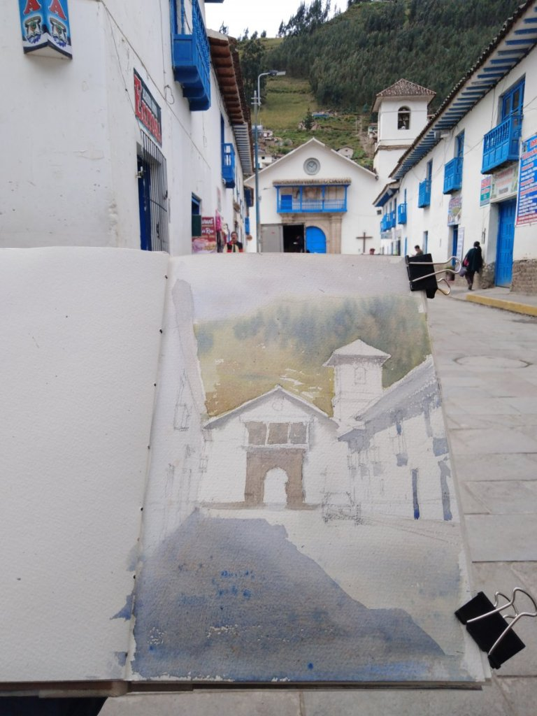 """This is the second watercolor (and the process) of my trip to Cusco: the church of """"Virgen del"""