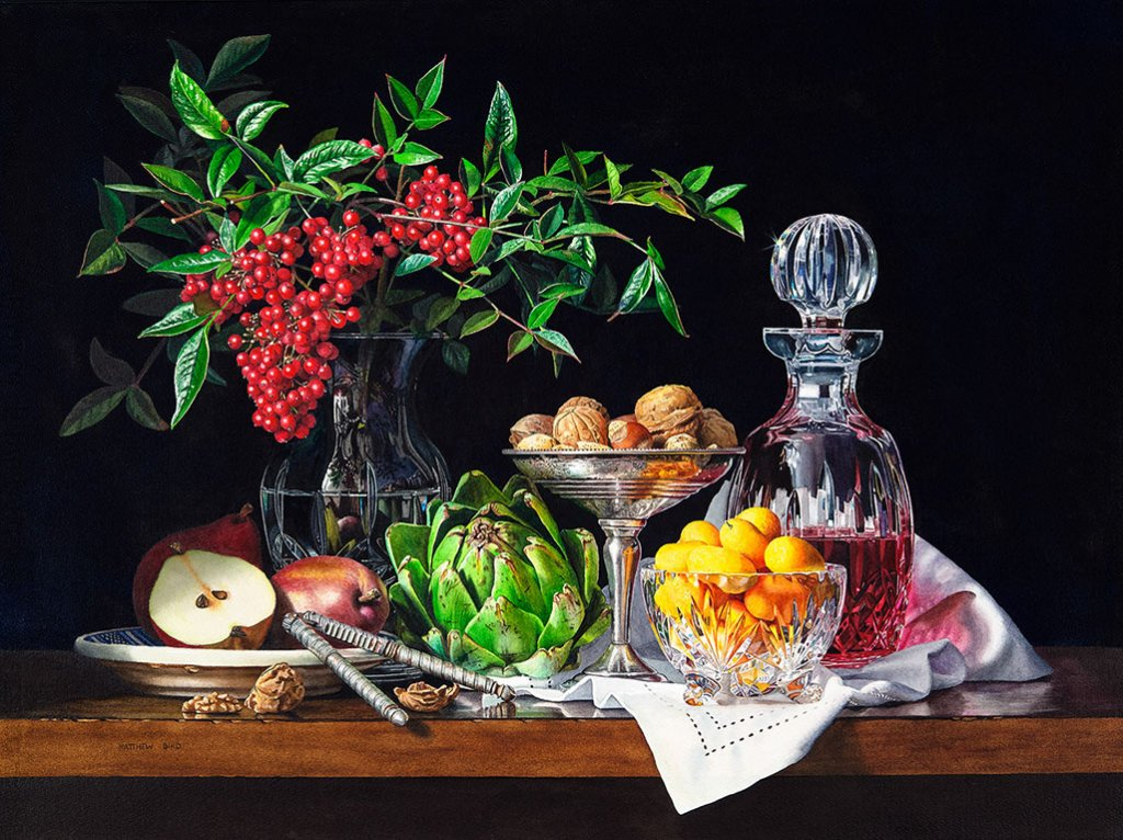 Hyperrealism Watercolor Painting Still Life by Matthew Bird - Doodlewash
