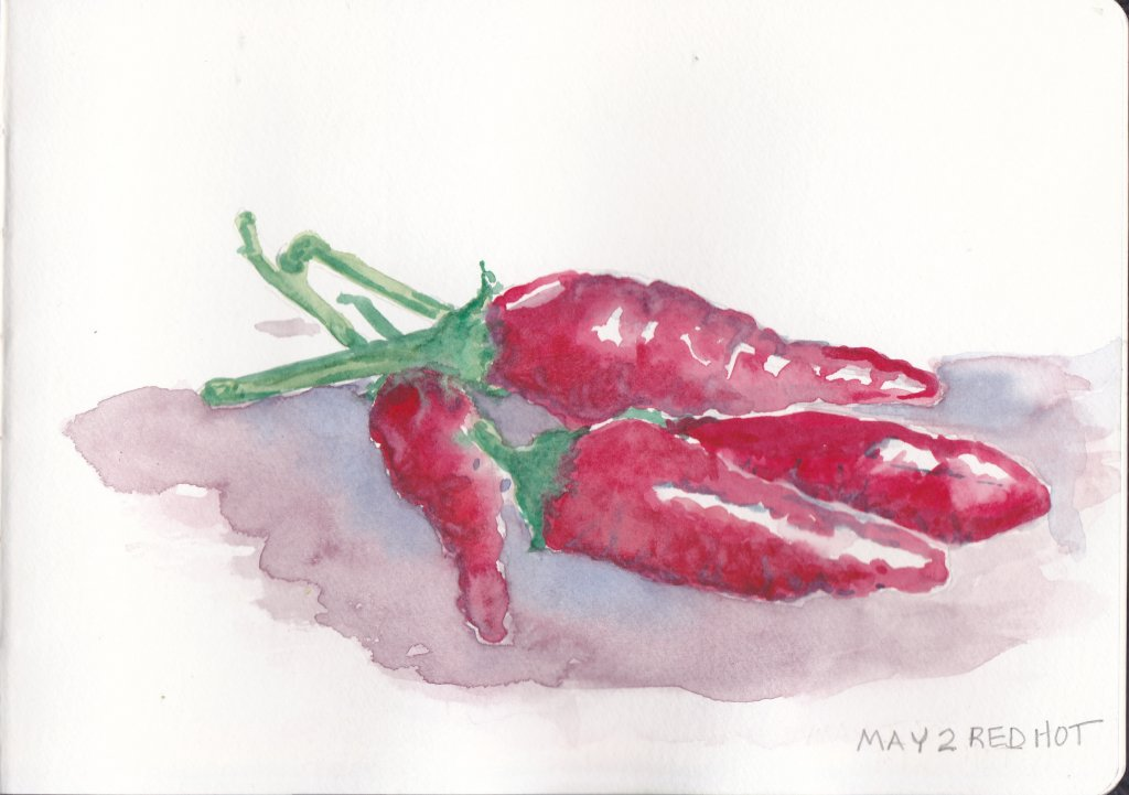 DoodleWash Day 2 Prompt -Red Hot-Chili Peppers. What else comes to mind other than sticky little cin