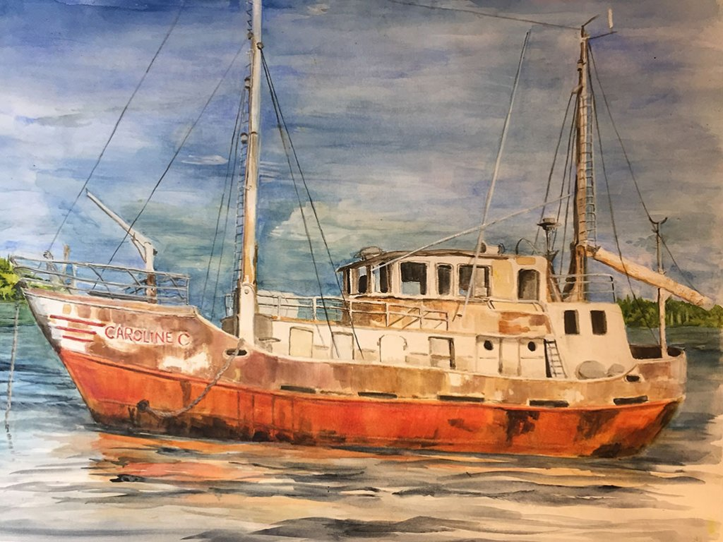 Boat Watercolor Painting by Karalee Hammes - Doodlewash