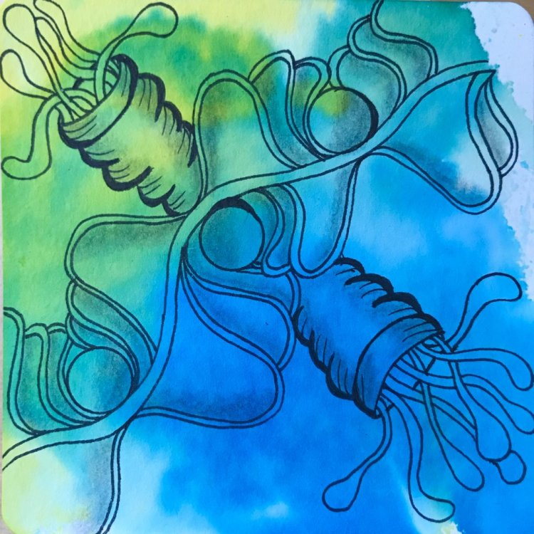background color is Jane Davenport Inkredible Inks used like watercolor. on a 3.5″ YouTangle.a
