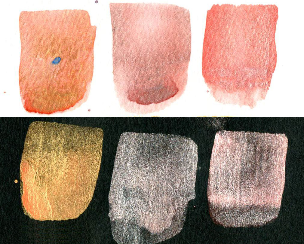 Non-Iridescent Iridescent Watercolor Mixes Cadmium Red Light