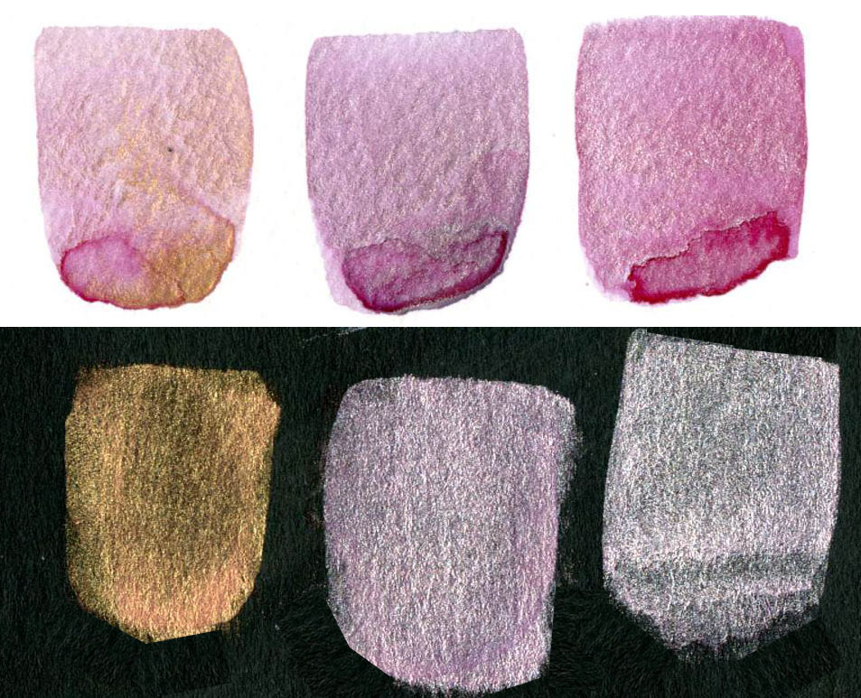 Non-Iridescent Iridescent Watercolor Mixes Quinacridone Violet