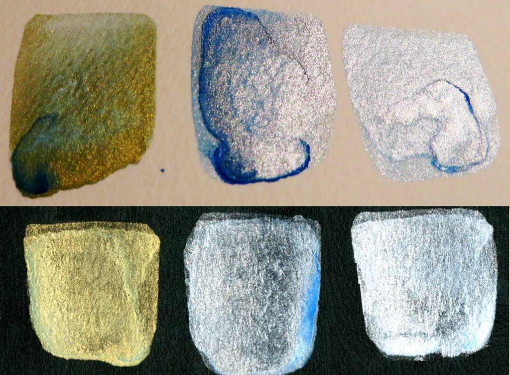 Non-Iridescent Iridescent Watercolor Mixes Maganese Blue