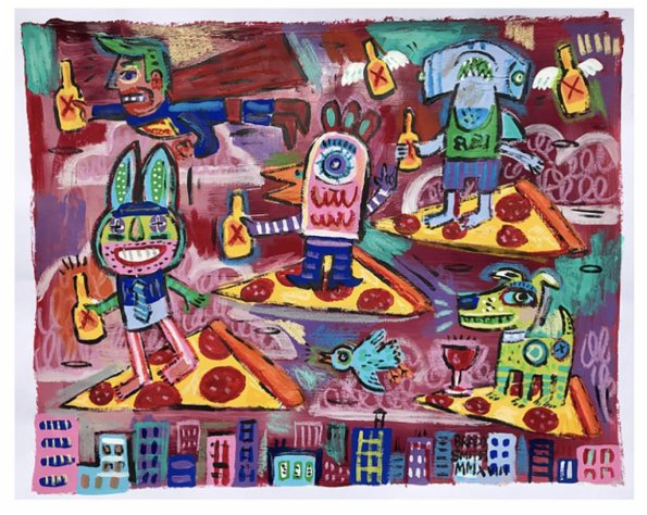 Fine Art Painting Flying Pizza and Characters by Brady Smith