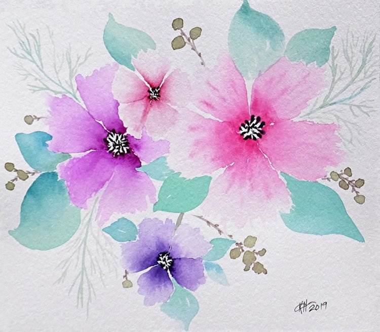 Just a little practice painting. I can't seem to stop painting this type of flower. They are s