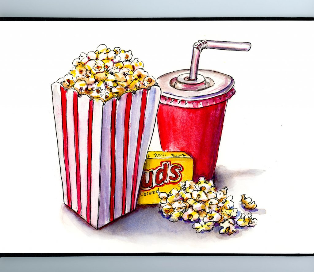 Day 11 - Movie Popcorn Drink Watercolor Illustration_IG