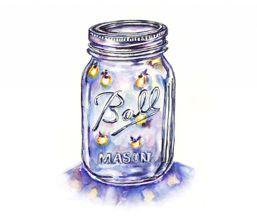 Lightning Bugs Jar Fireflies Watercolor Illustration