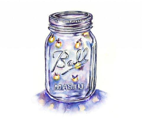 Lightning Bugs Jar Fireflies Watercolor Illustration