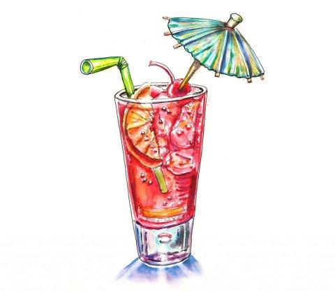 Tropical Drink Umbrella Watercolor Illustration