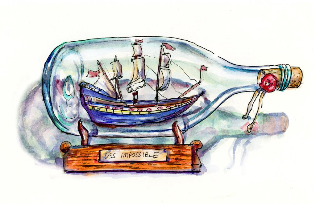Ship In A Bottle Watercolor Illustration