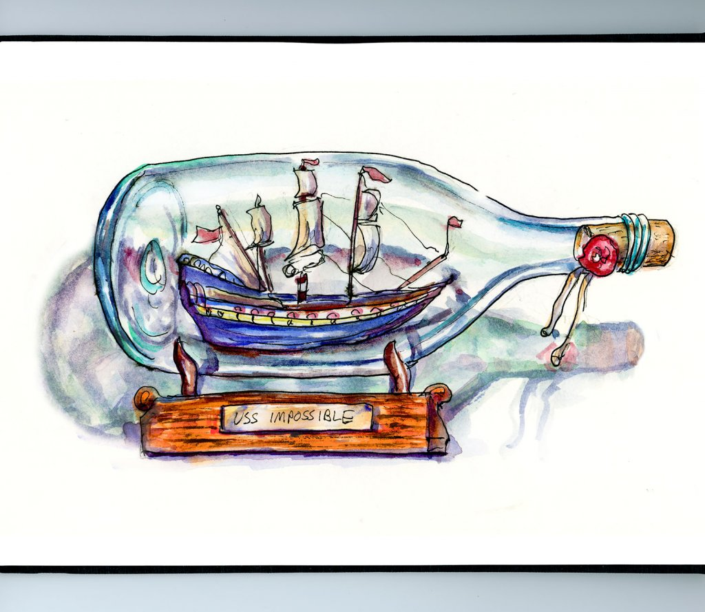 Ship In A Bottle Watercolor Illustration Sketchbook Detail