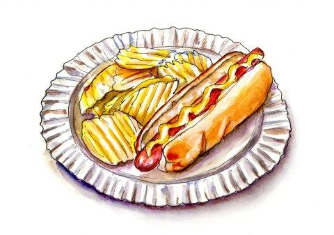 Hot Dog Potato Chips Watercolor Illustration