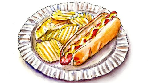 Hot Dog Potato Chips Watercolor Illustration