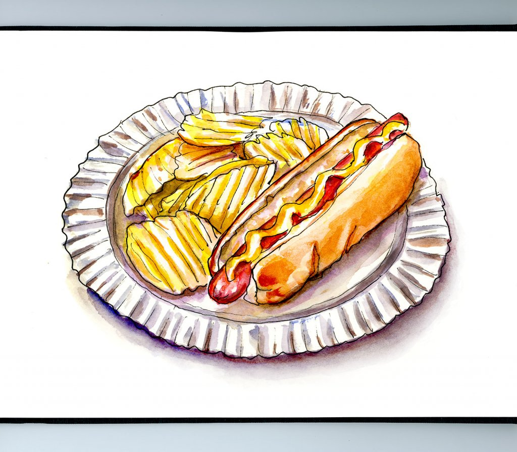 Hot Dog Potato Chips Sketchbook Illustration