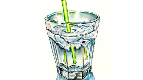 Glass Of Water Straw Watercolor Illustration - Doodlewash