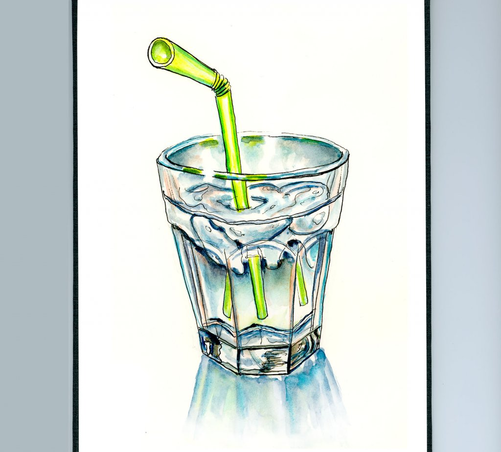 Day 2 - Glass Of Water Straw Watercolor Illustration_IG