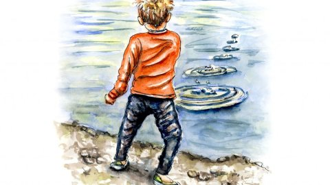 Day 22 - Skipping Stones Rock Boy Watercolor Illustration