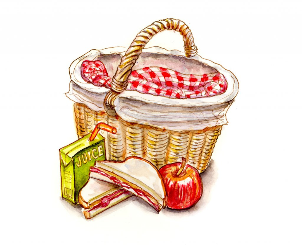 Childhood Picnic Food Watercolor Illustration