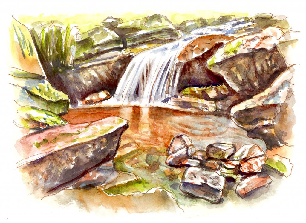 Little Waterfall Watercolor Illustration