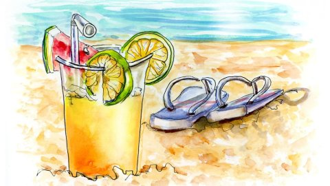 Drink Sandals Beach Watercolor Illustration