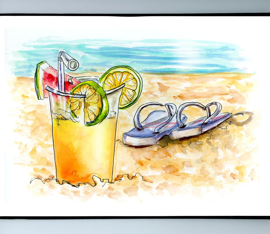 Drink Sandals Beach Watercolor Illustration Sketchbook Detail