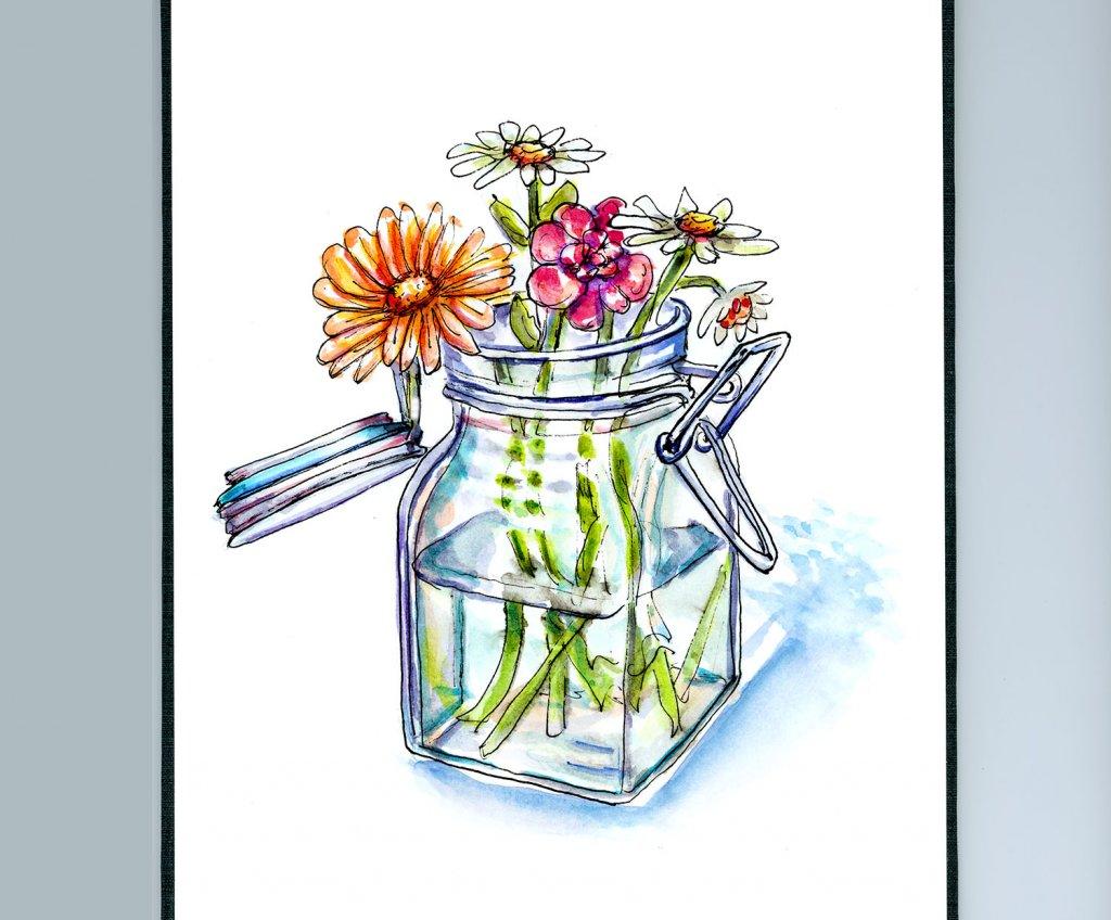Wildflowers Vase Watercolor Illustration Sketchbook Detail