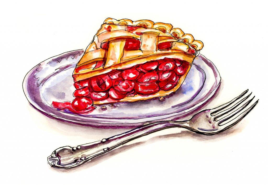 Cherry Pie Fork Watercolor Illustration - Doodlewash