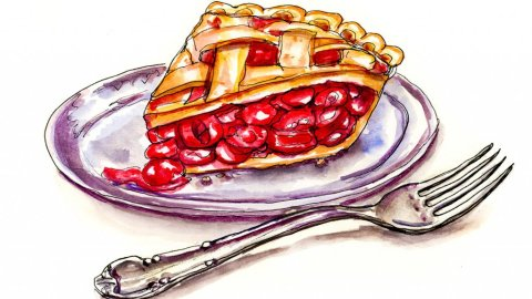 Cherry Pie Fork Watercolor Illustration - Doodlewash
