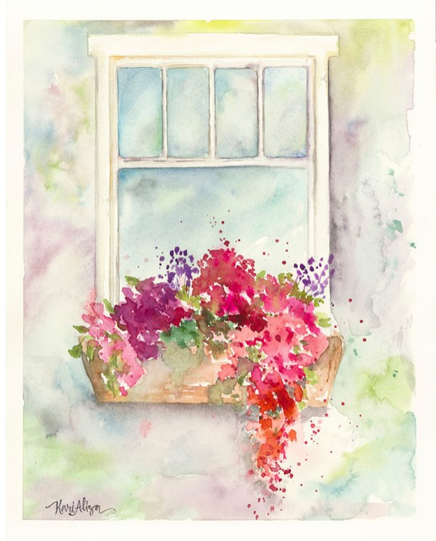 Garden Window Watercolor Painting by Kari Alisa Watson - Doodlewash