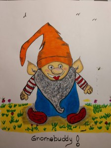Gnomebuddy. Reference Pixabay. Alcohol Marker and Colored Pencil some watercolor . Gnomebuddy