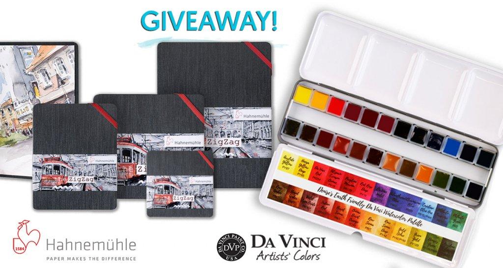 Hahnemühle ZigZag & Da Vinci Watercolors June 2019 Giveaway Sharing Image