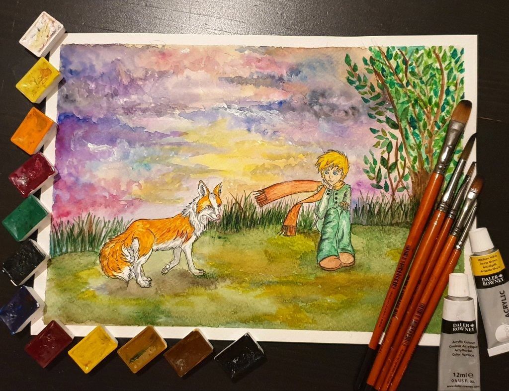My version of the part, when The Little Prince and Fox meet. For me that moment has always been colo