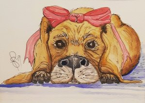 """""""Why Me?"""" Artist Susan Feniak. QoR watercolor and ink on Fabriano paper. With apologies"""
