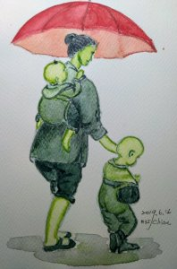 Poor woman and children For day 14 prompt:umbrella IMG_20190615_001636