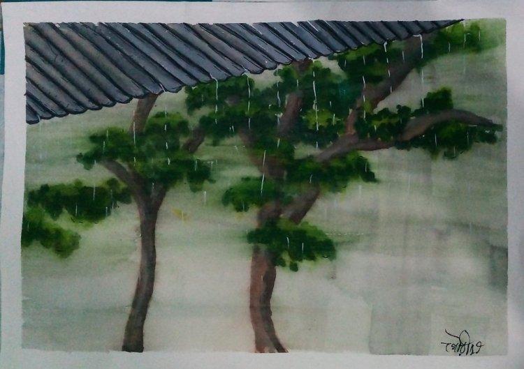 Day24 Waterfall #rainwaterfall #doodlewashJune2019 #WorldWatercolorGro IMG_20190624_200658~2