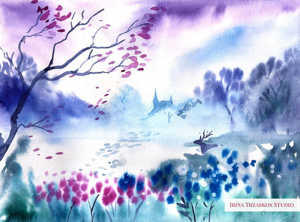 Landscape Watercolor Painting by Irina Trzaskos - Doodlewash