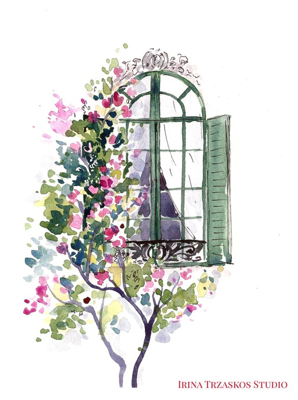 Window Watercolor Painting by Irina Trzaskos - Doodlewash