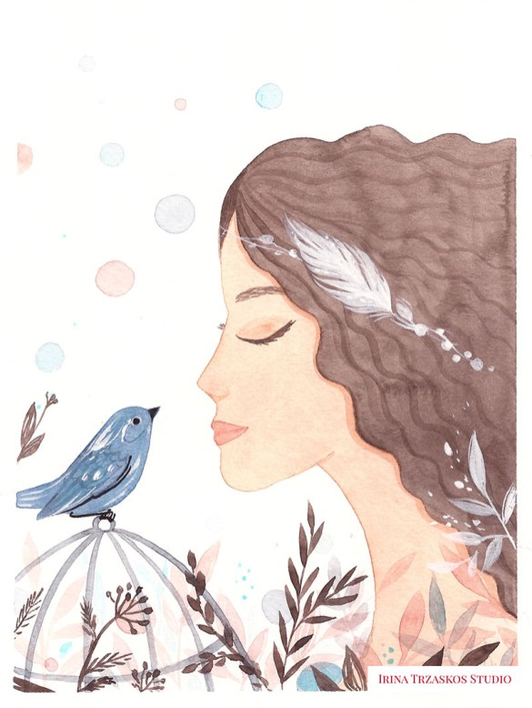 Bird And Woman Watercolor Painting by Irina Trzaskos - Doodlewash