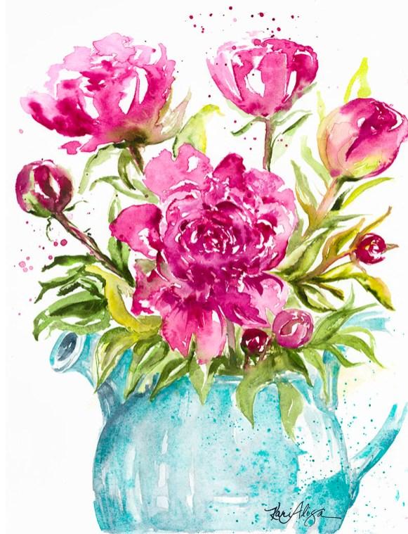 Peonies Watercolor Painting by Kari Alisa Watson - Doodlewash