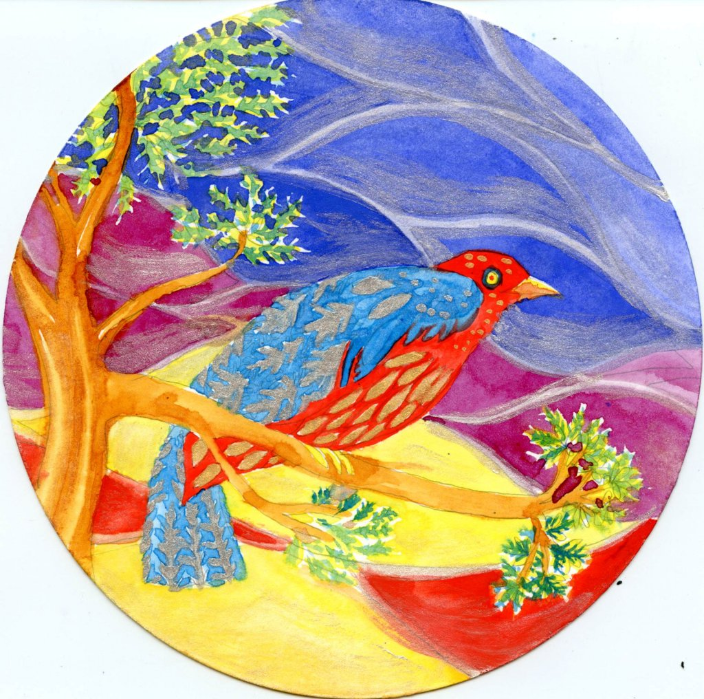 Folk Art Watercolor Example by Sandra Strait